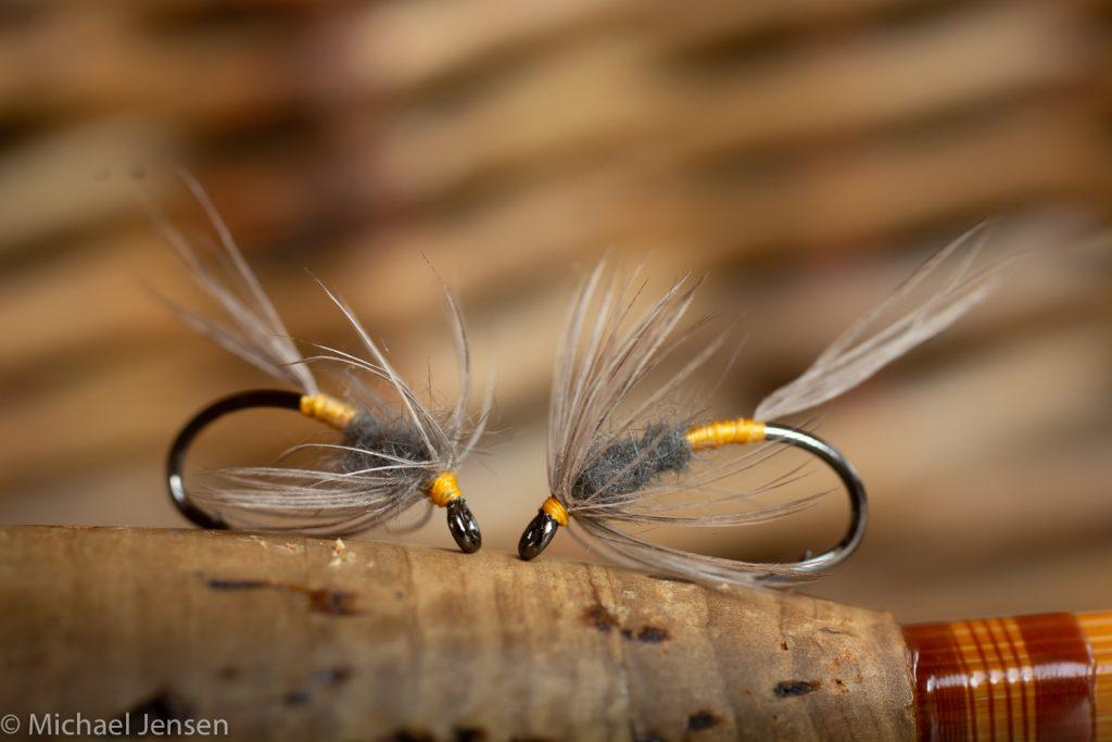 Two Blue Dun Soft Hackles on a splitcane rod