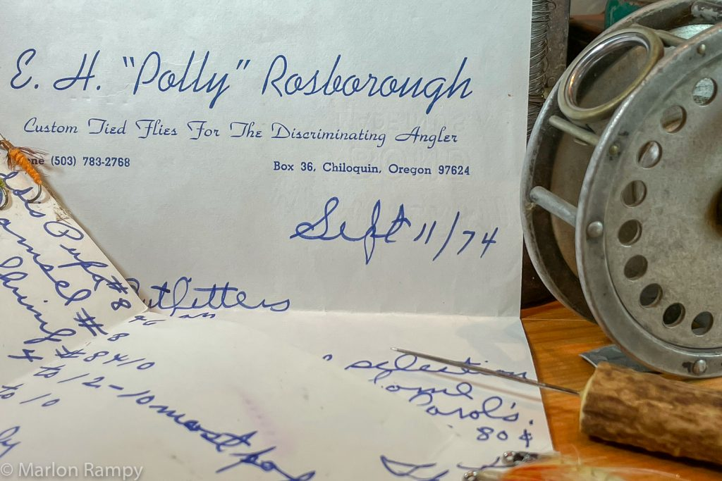 Polly Rosborough's original flies and a letter